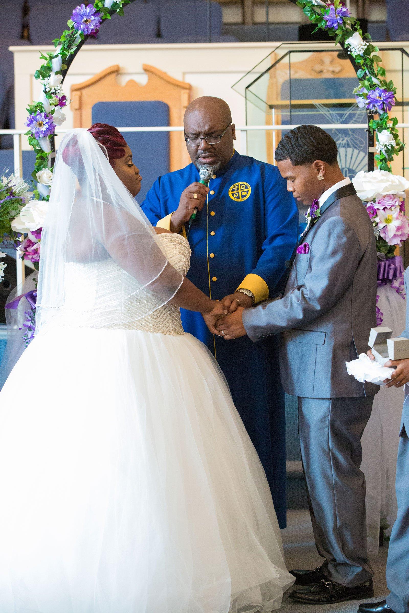 Rochester, NY Wedding photo of ceremony prayer