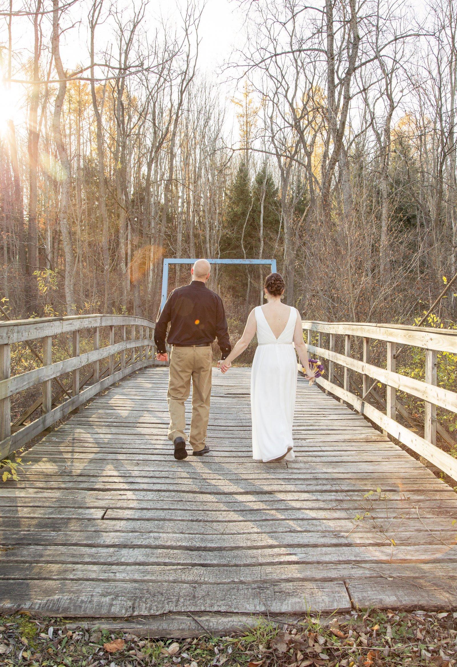 Erie, PA Wedding bride groom on a bridge