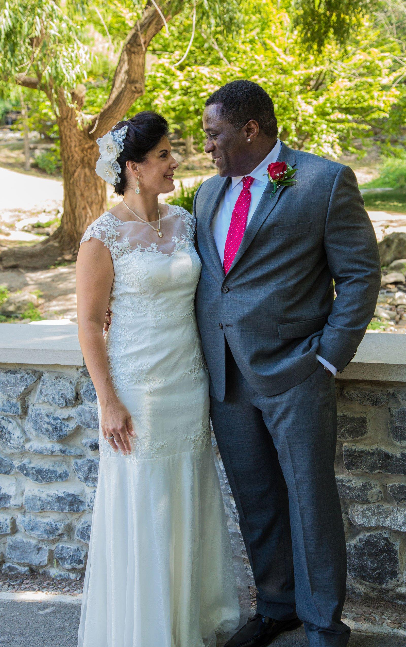 Williamsville, NY Wedding bride looks into husband's eyes