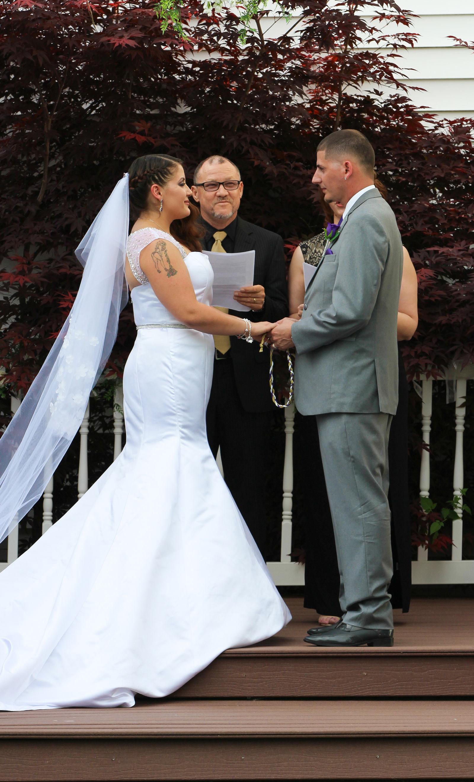 uffalo, NY Wedding Ceremony groom says vows