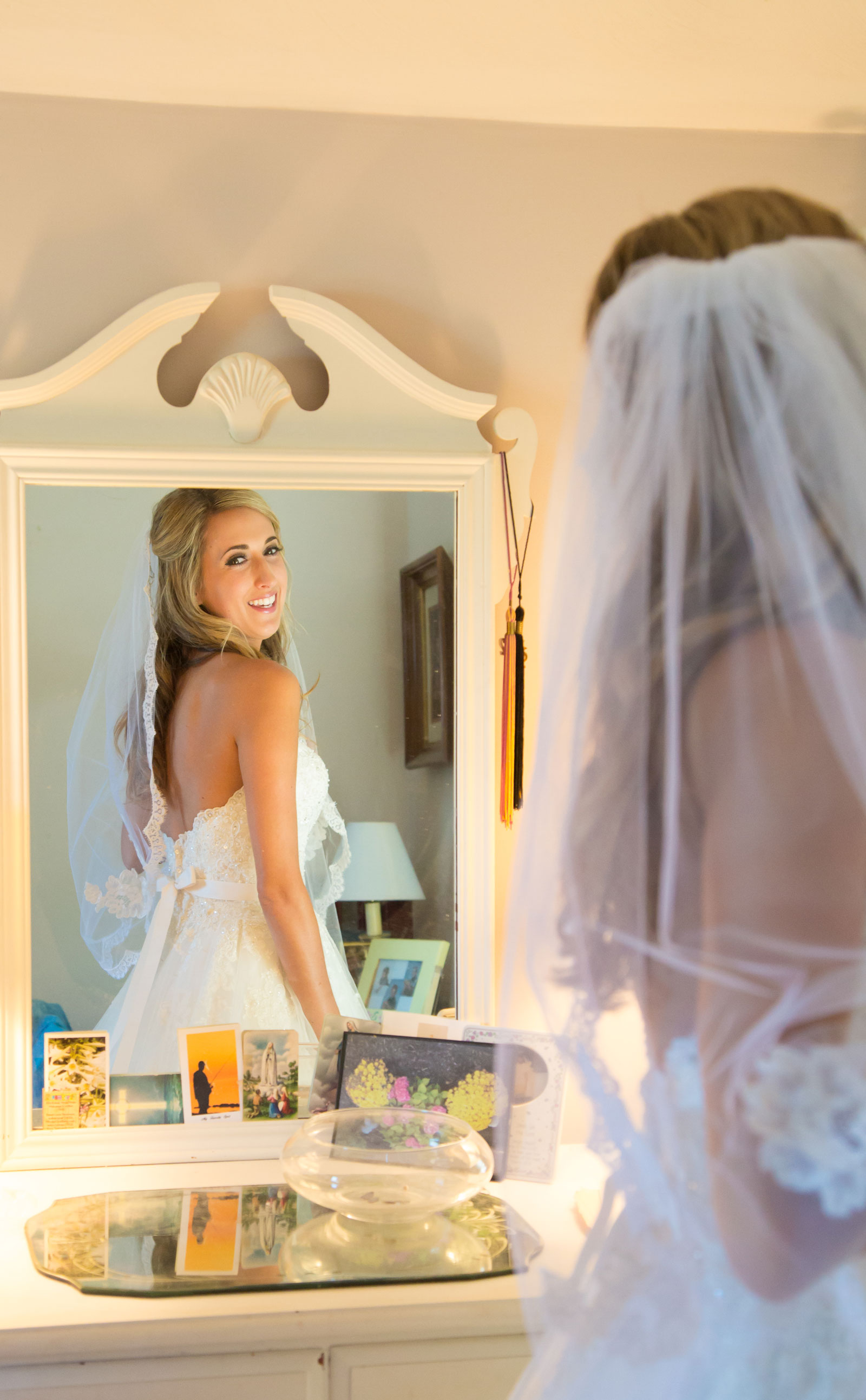 Webster, NY Wedding Bride in the mirror