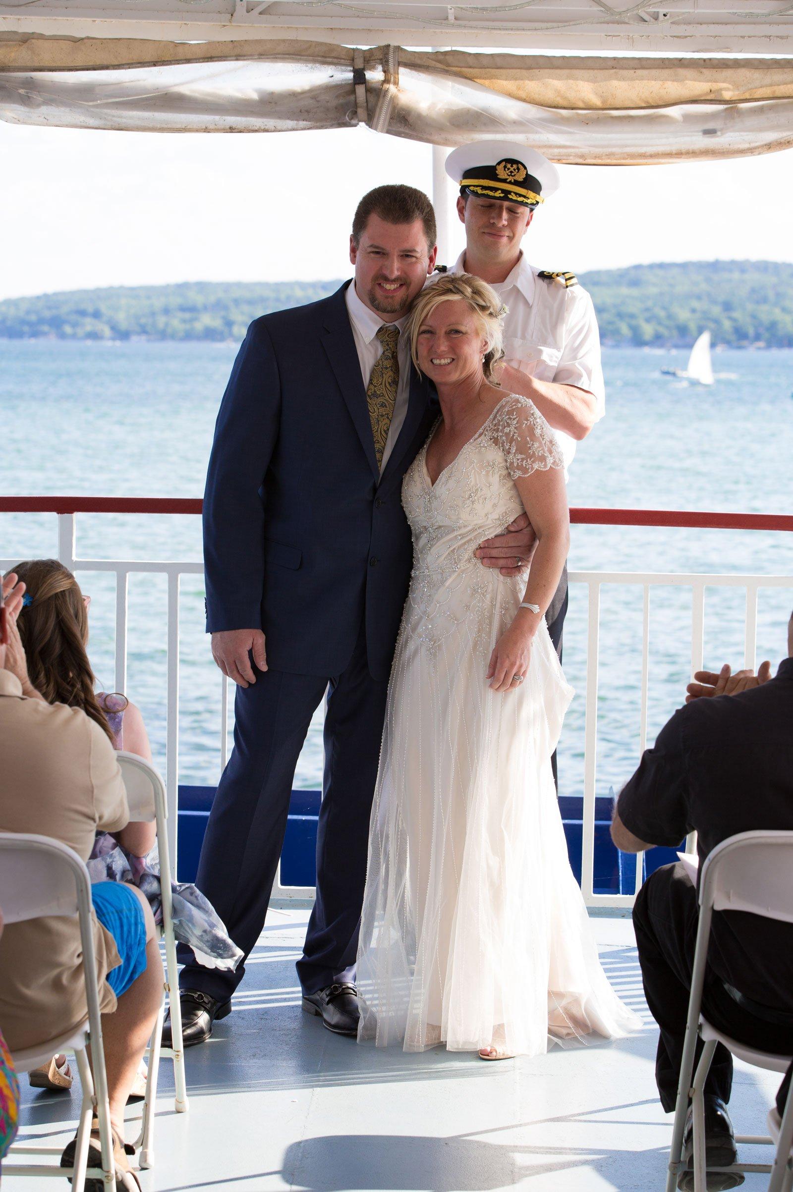 Canandaigua NY Wedding Ceremony Bride Groom just married