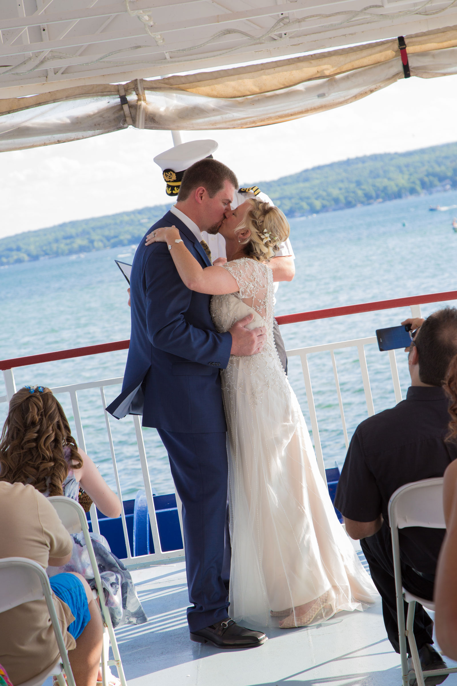 Canandaigua NY Wedding Ceremony Bride Groom first kiss as husband and wife