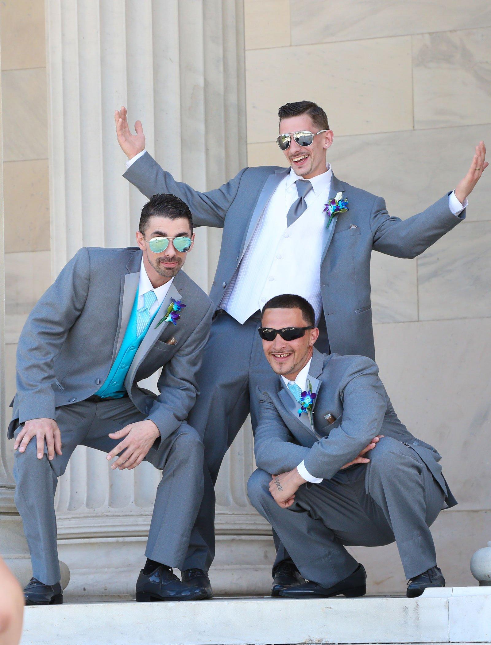Buffalo, NY Wedding groom groomsmen at Albright Knox