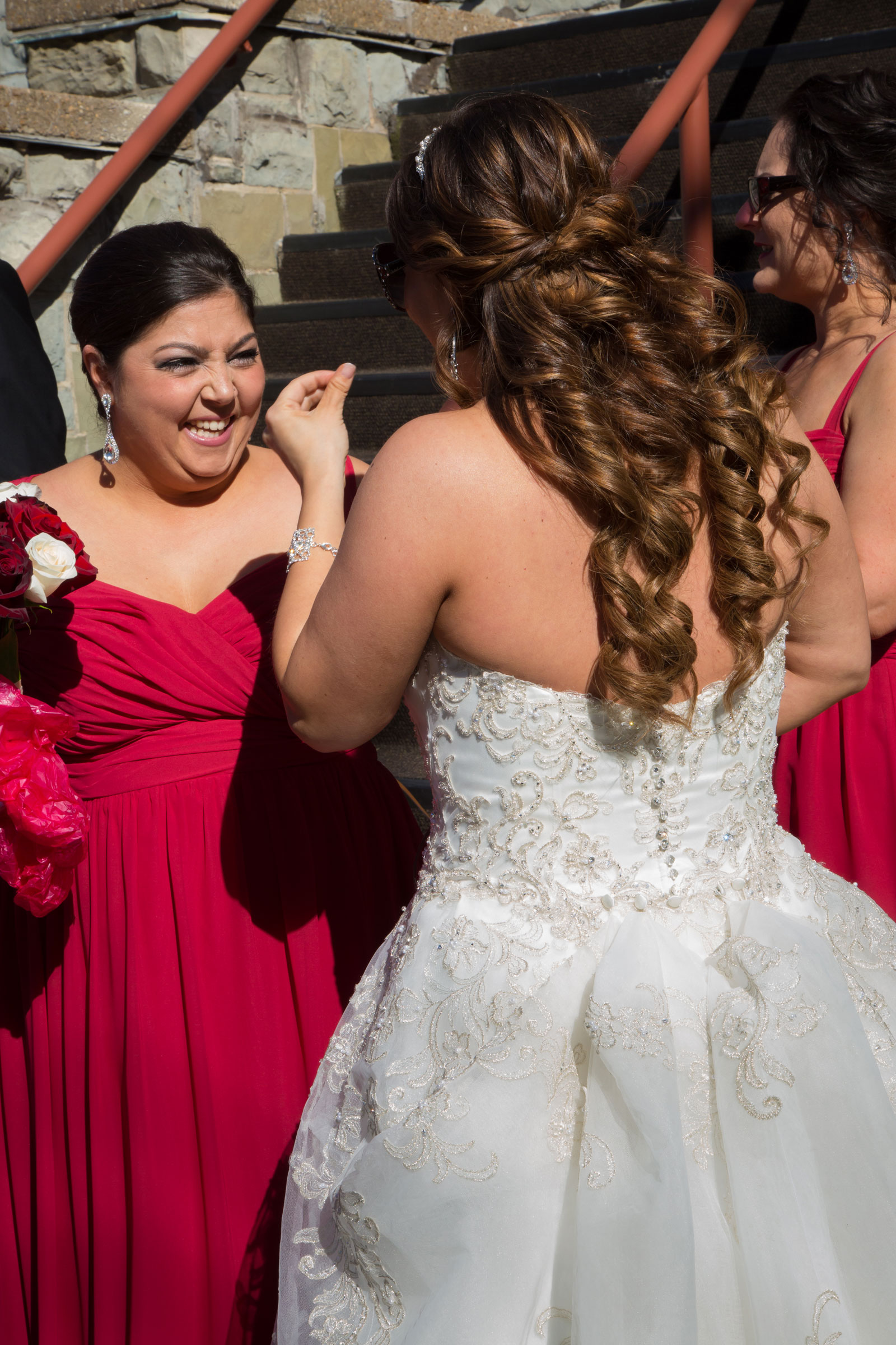 Lackawanna, NY Wedding bride with bridesmaid