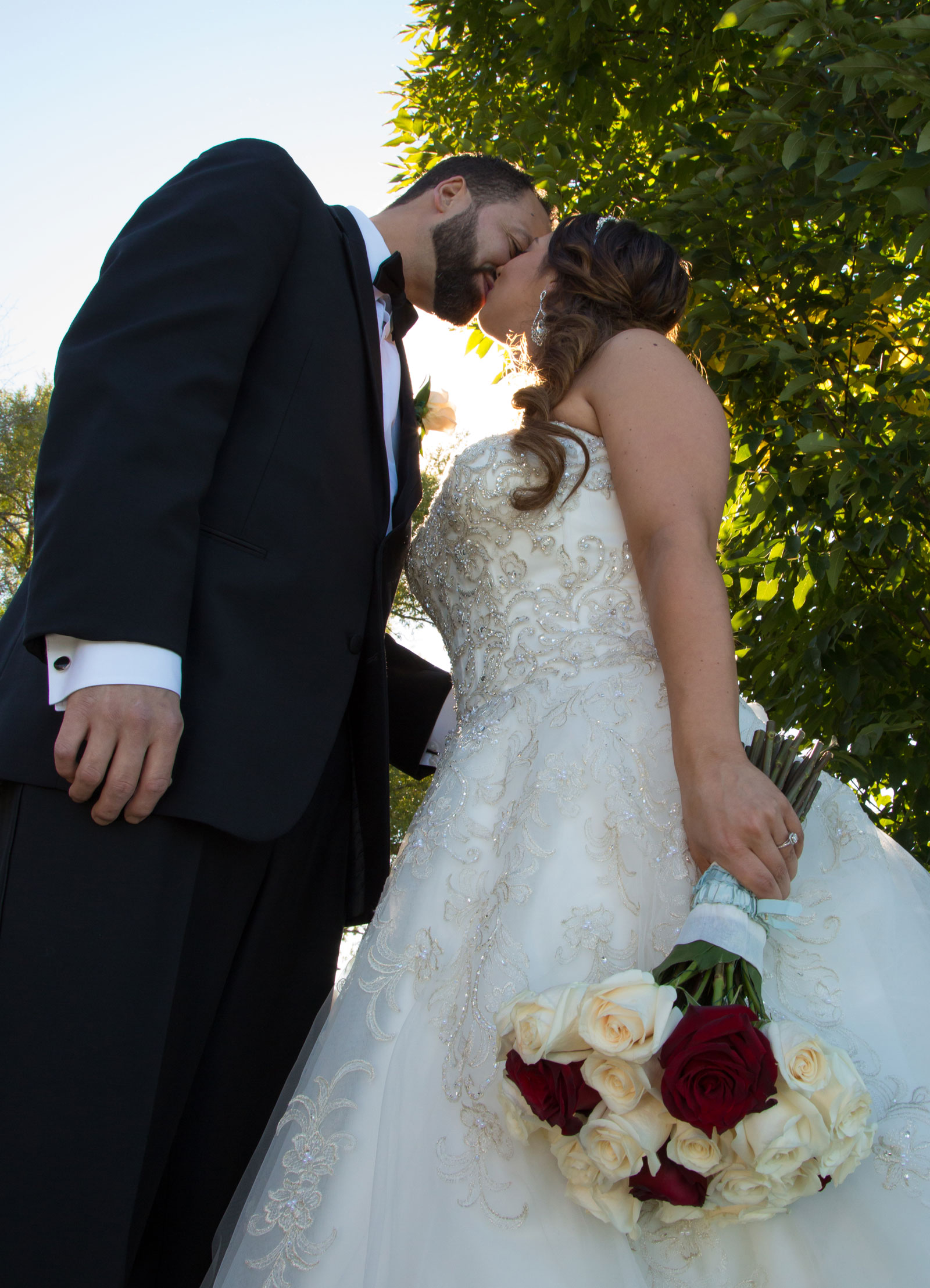 Lackawanna, NY Wedding bride groom kiss