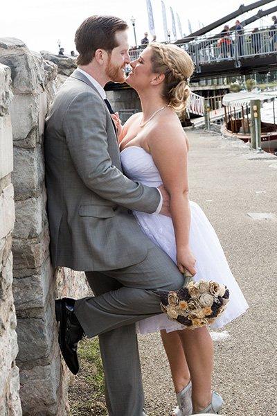 passionate wedding downtown buffalo kiss