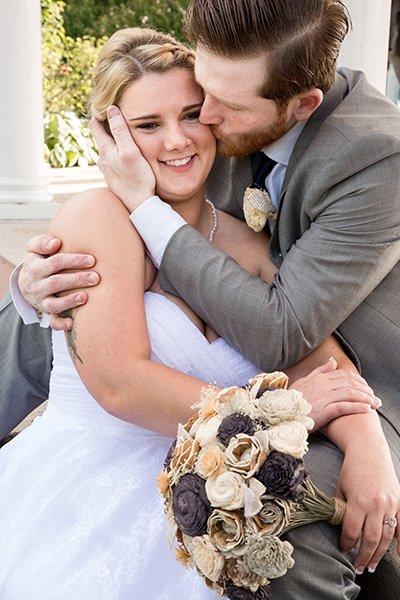 bride groom cute kiss