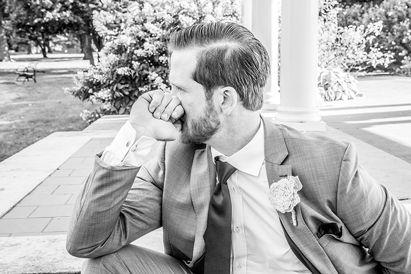 groom thinking man pose