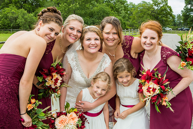 bride having fun with her bridesmaids