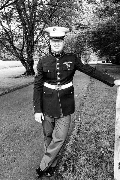 marine groom fence pose