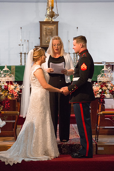 bride with her marine