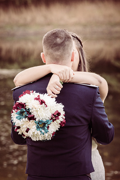 wedding bouquet hug
