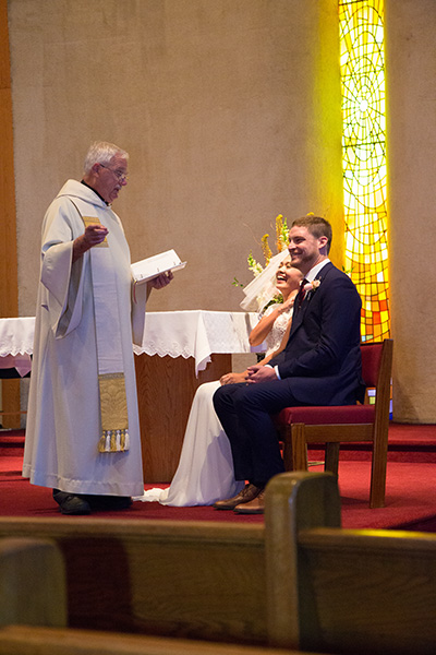 officiant gives message to the bride and groom