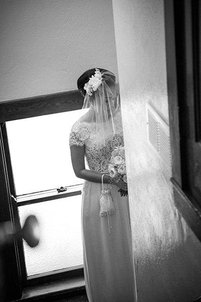 bride in a church hallway