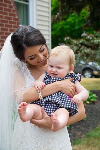 bride with a baby girl