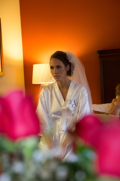 bride in the hotel before getting ready