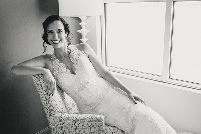 wedding bride smile black and white