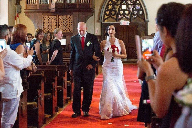 Bride down the aisle