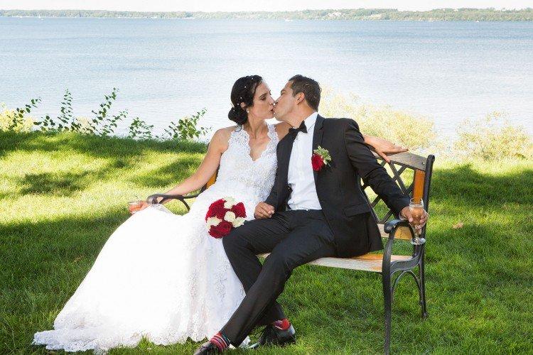 Bride groom on a bench in color