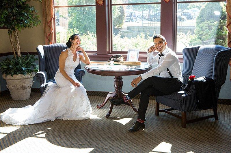 bride and groom fun pose