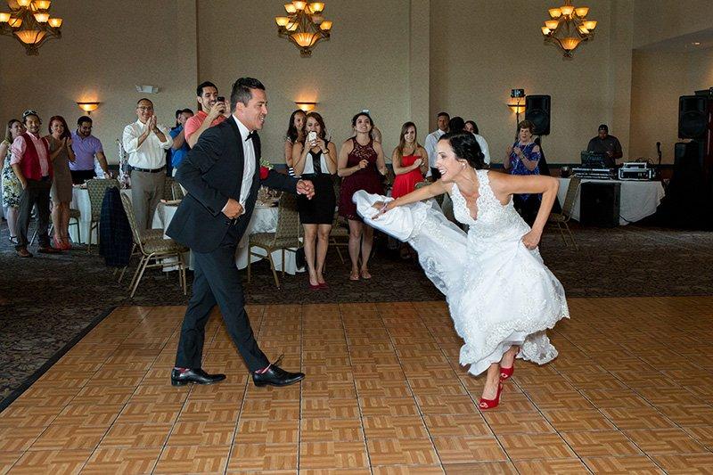 bride groom dancing to a salsa song