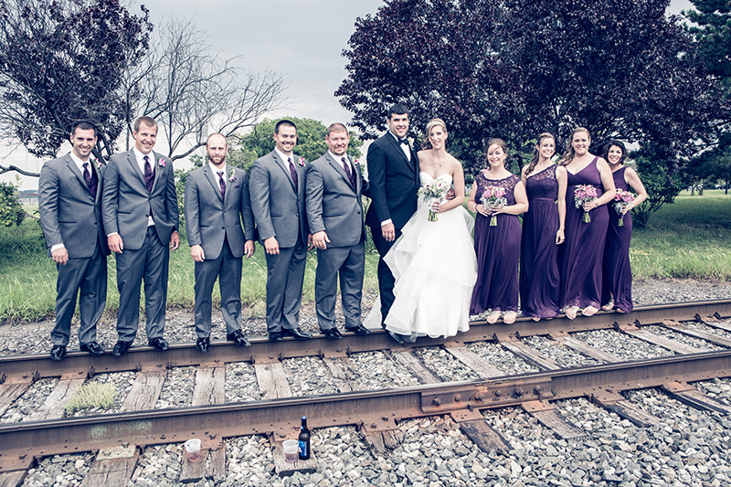 wedding party on the train tracks