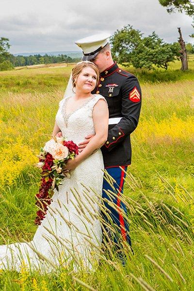 bride and her handsome marine husband