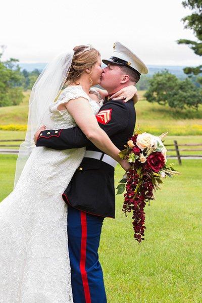 marine picks up his new bride