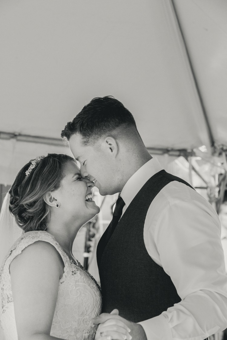 Newlywed bliss during the first wedding dance at the reception