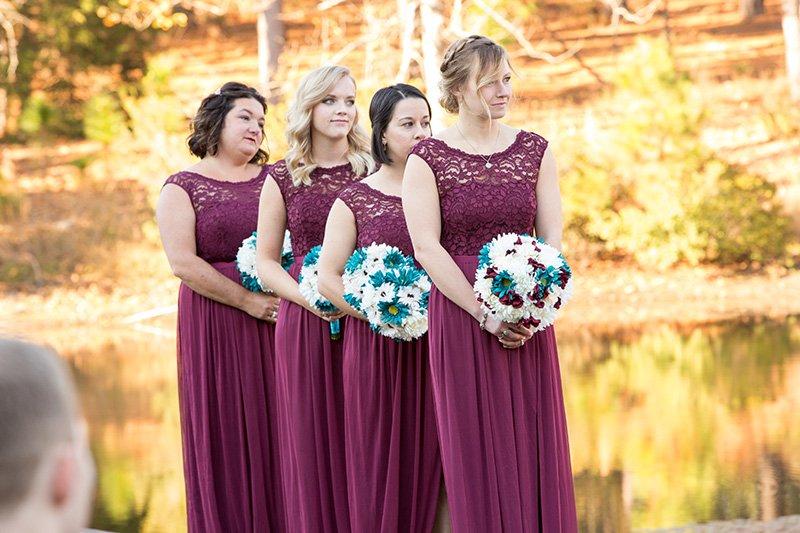 bridesmaids during a wedding ceremony