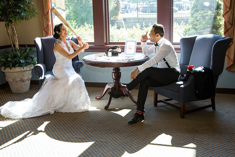 bride with a baseball bat