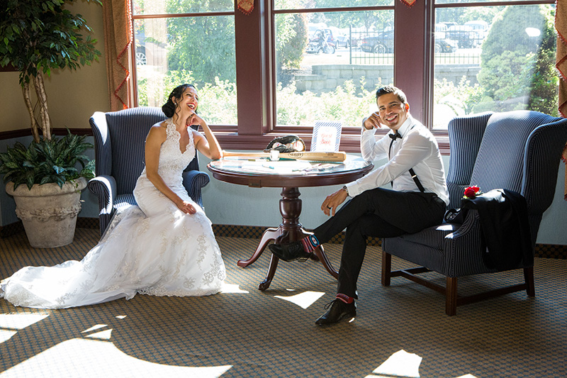 bride and groom fun pose