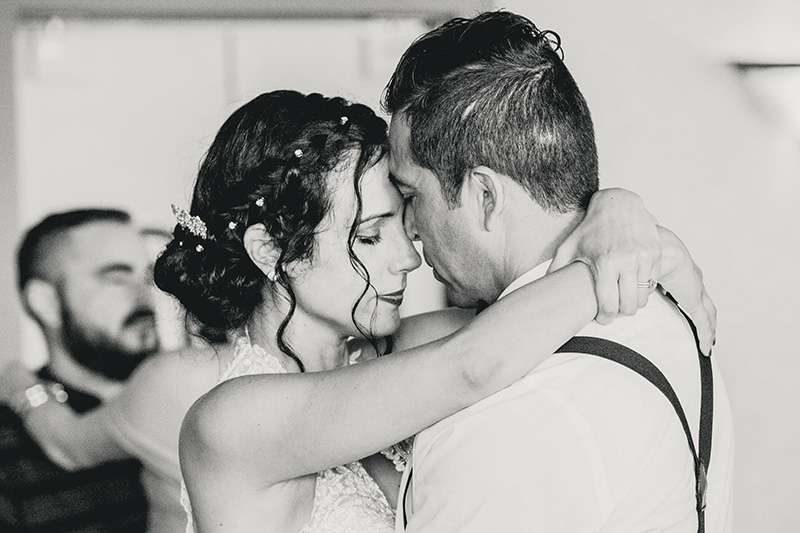 bride dances close to the groom