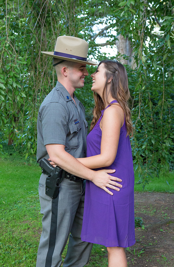 engagement photo a trooper and his fiancé