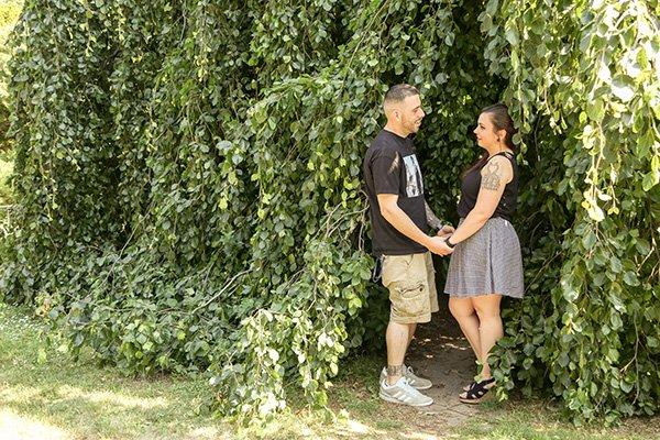 loving couple among the trees