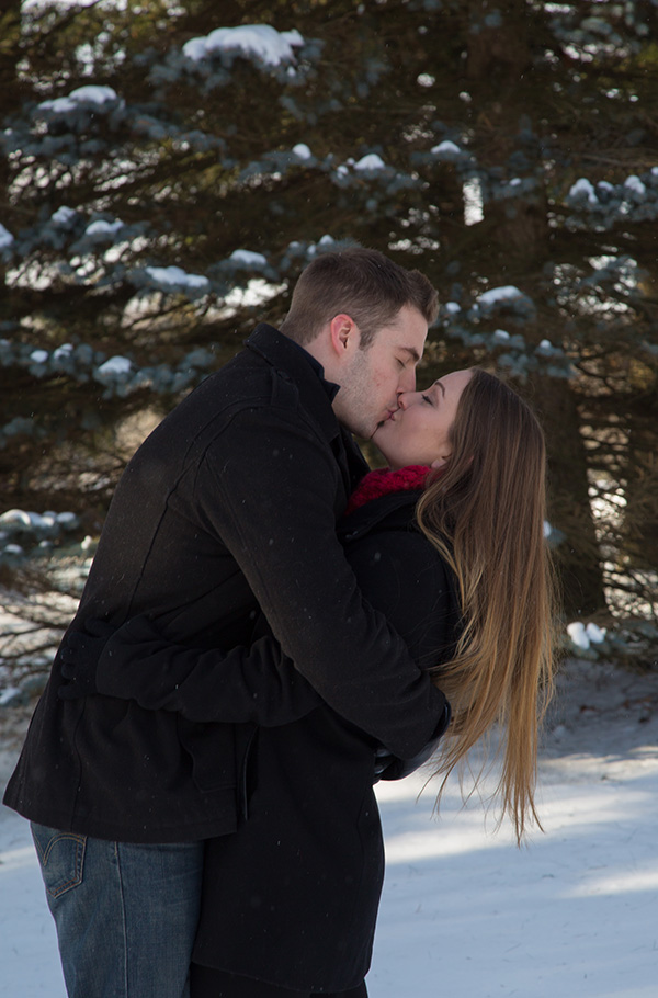warm kiss on a cold day in Buffalo