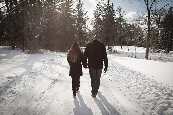walking in the snow hand in hand